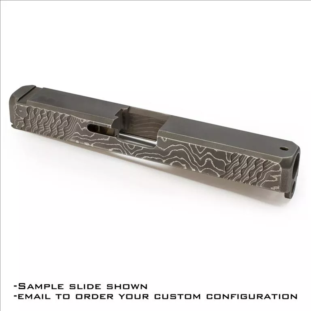 "Example of possible Damascus steel slide configuration. Features: front and rear bull nose, front and rear ""wave"" style cocking serrations and 45 degree edge bevel."